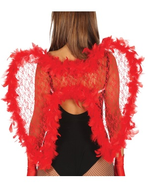Ailes de démon avec dentelle et plumes rouges