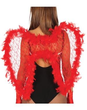Teufelsflügel mit Nägeln und roten Federn