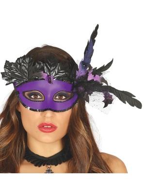 Máscara veneziana roxa com pluma