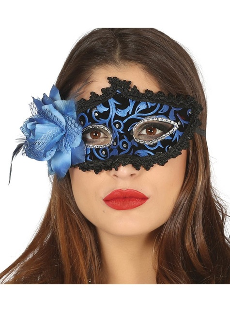 Black and blue venetian eyemask with a flower