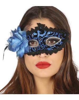 Eyemask Venesia hitam dan biru dengan bunga