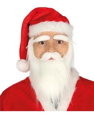 Barba, bigode e sobrancelhas de Pai Natal branco para homem