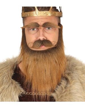 Skägg med Mustasch och ögonbryn viking kastanj vuxen
