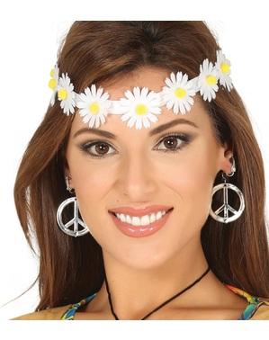 Cinta para el pelo de flores blancas hippies