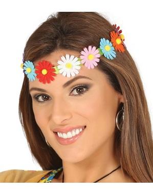Cinta para el pelo de flores multicolor hippies