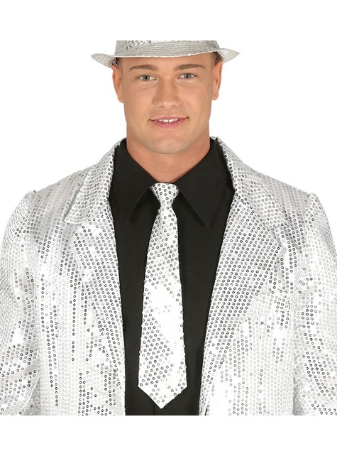 Silver sequin tie for adults