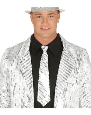 Cravată cu paiete argintie pentru adult
