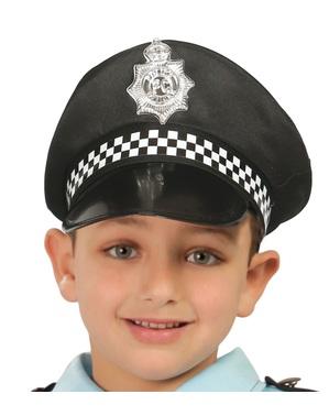 Zwarte politie hoedje voor kinderen