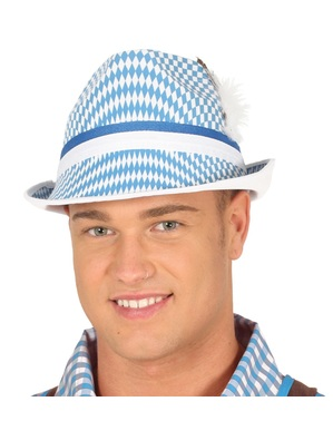 White and blue oktoberfest hat for adults