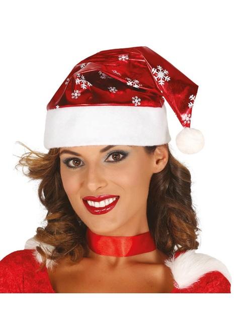 Gorro de Papá Noel brillante con copos de nieve