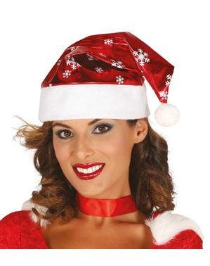雪の光沢のある父のクリスマス帽子