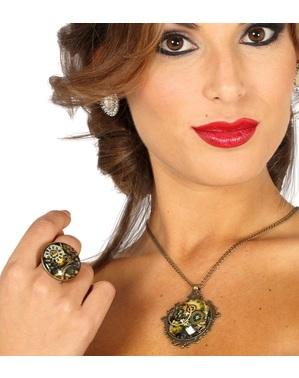 Kit anello e collana steampunk per donna