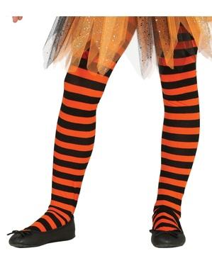 女の子のための黒とオレンジ色の縞模様の魔女のタイツ