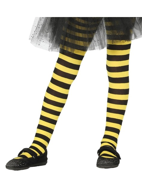 Black and yellow striped witches tights for girls