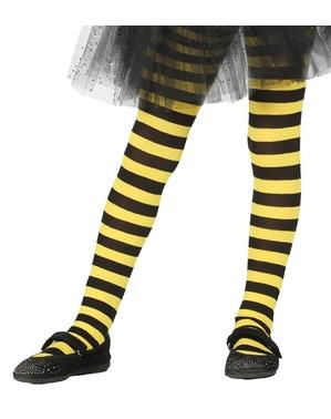 Collants de bruxa de riscas pretas e amarelas para menina