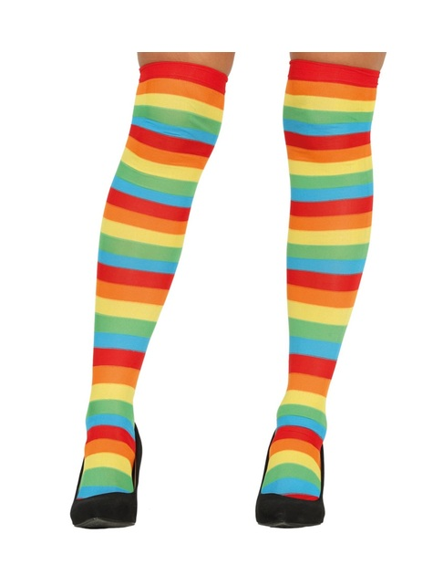 Multi-coloured stripes clown tights for women
