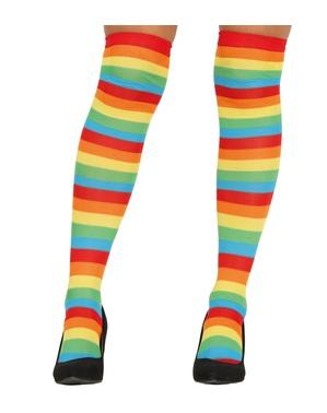 Meias-calças de palhaço de riscas multicolores para mulher