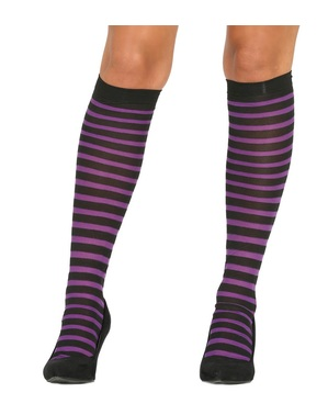 Black and purple striped witch tights for women