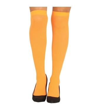 Meias-calças laranjas para mulher