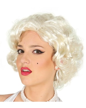 Wig Marilyn pirang keriting pendek untuk wanita