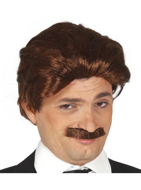 Peluca y bigote de ejecutivo castaña para hombre