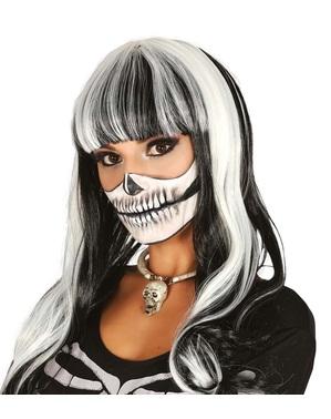 Peruca de esqueleto branca e preta lisa para mulher