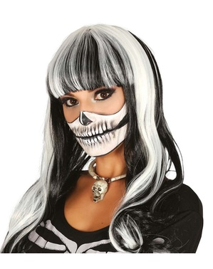 Skeleton white and black smooth wig for women