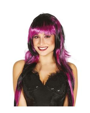 Glatte Punk Perücke schwarz-lila für Damen