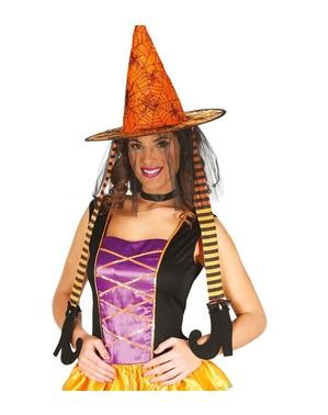 Oranje heksen hoed met benen voor vrouw