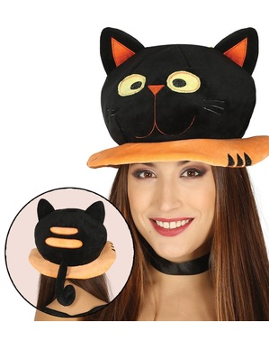 Chapéu de gato preto para adulto