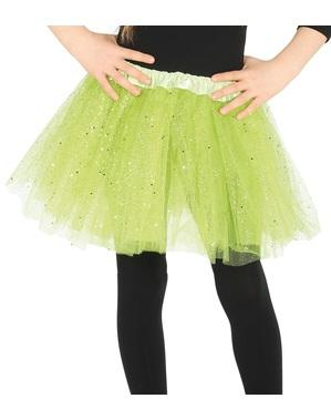 Tutú verde con brillantina para niña