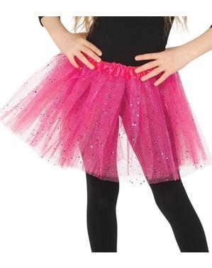 Pink glittertylskørt til piger