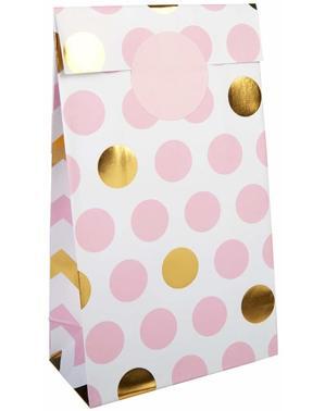 5 polkadotzakken in roze en goud - Patroonwerken Roze