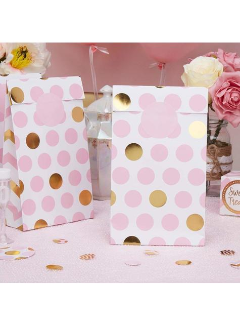 5 Polka Dot Bags in Pink and Gold - Pattern Works Pink