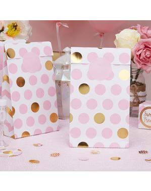 5 täplikästä pussia pinkkinä ja kultaisena - Pattern Works Pink