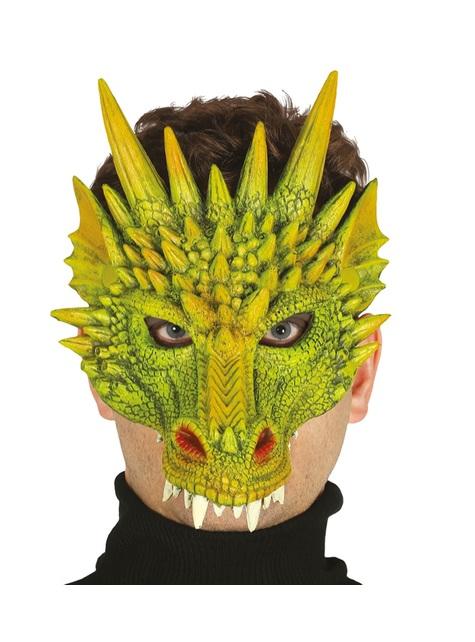 Máscara de dragón verde para adulto