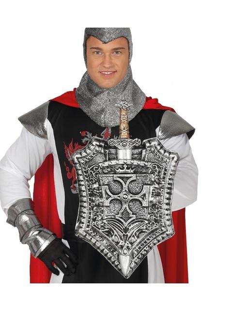Bouclier médiéval avec épée argentée