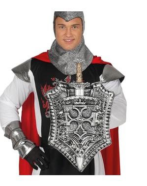 Escudo medieval con espada plateada