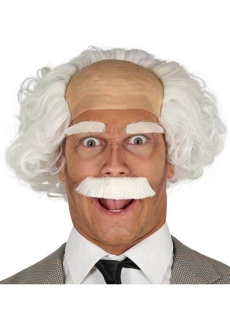 Peluca con calva y bigote de científico blanca para hombre