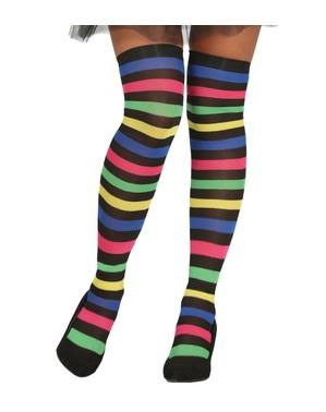 Meias-calças de bruxa de riscas multicolor para mulher