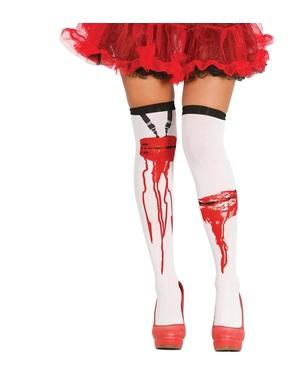 여성용 출혈 상처가있는 스타킹