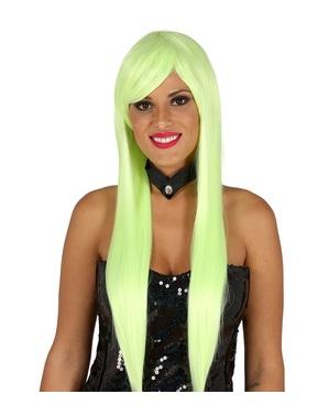 Peluca con flequillo verde neón para mujer