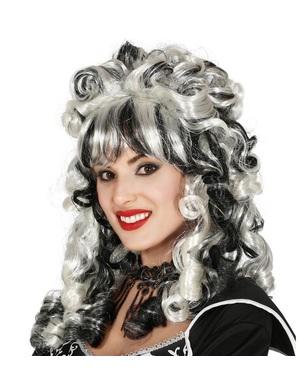 Zombiebraut Perücke schwarz-weiß für Damen
