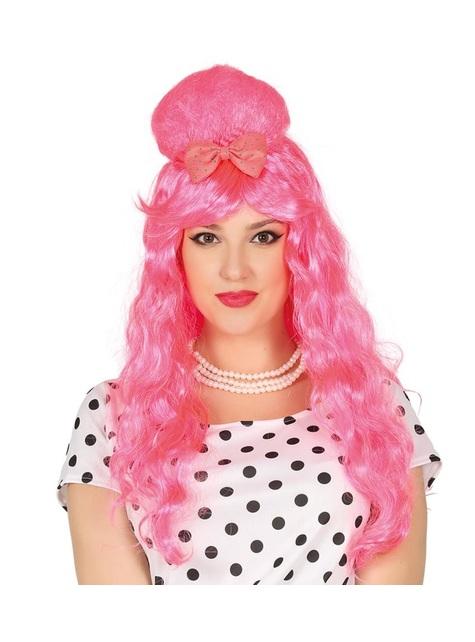 Peruca Pin Up cor-de-rosa com coque para mulher
