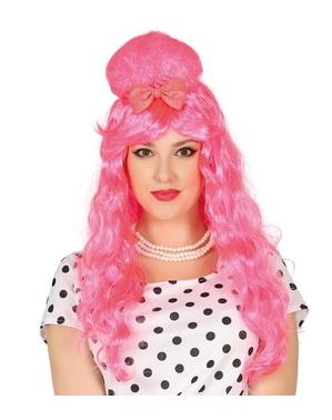 Pink pin up paryk med sløjfe til kvinder