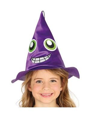Cappello viola da strega con volto da bambina