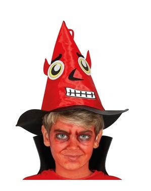 Chapeau démon rouge avec visage enfant