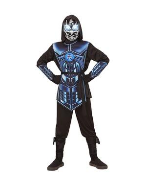 Costume da cyber ninja azzurro per bambini