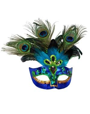 Mască pentru ochi venețiană de păun pentru adult