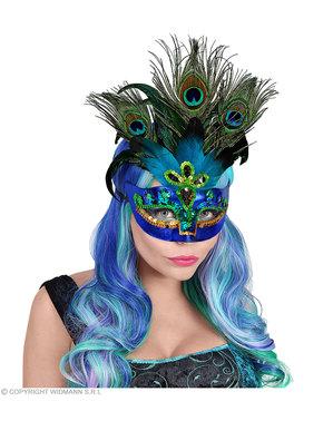 Maschera veneziana di pavone reale per adulto
